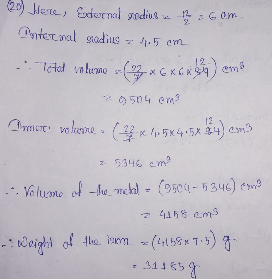 RS Aggarwal Class 8 Math Twentieth Chapter Volume And