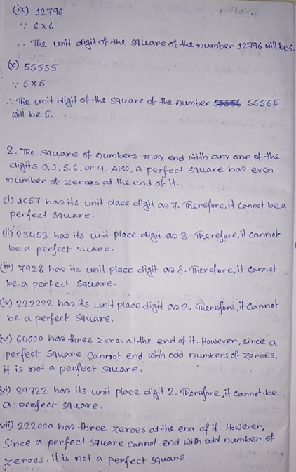 NCERT Class 8 Mathematics Sixth Chapter Squares And Squares