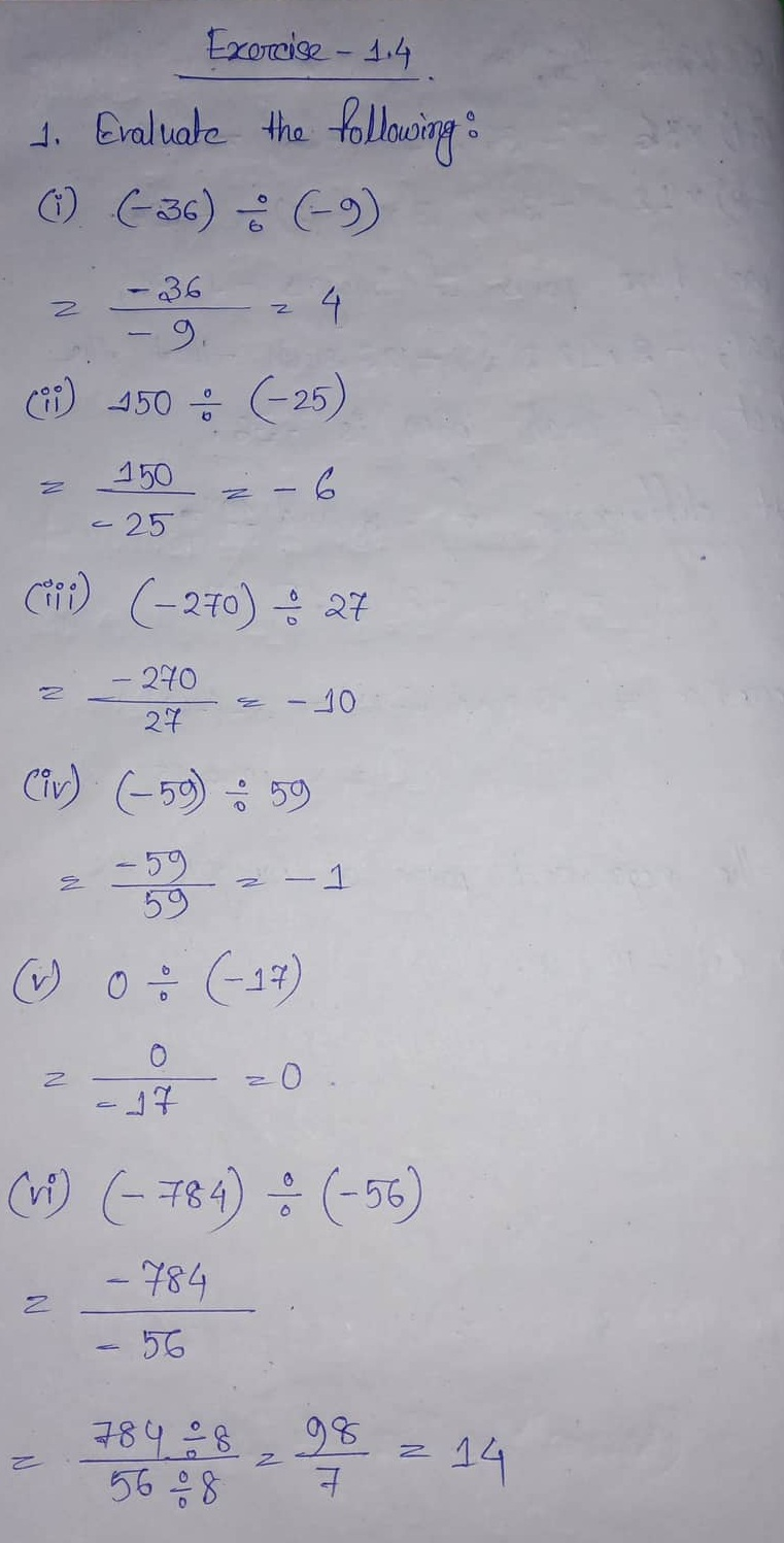 Ml Aggarwal Cbse Solutions Class 7 Math First Chapter Integers Exercise 1 4