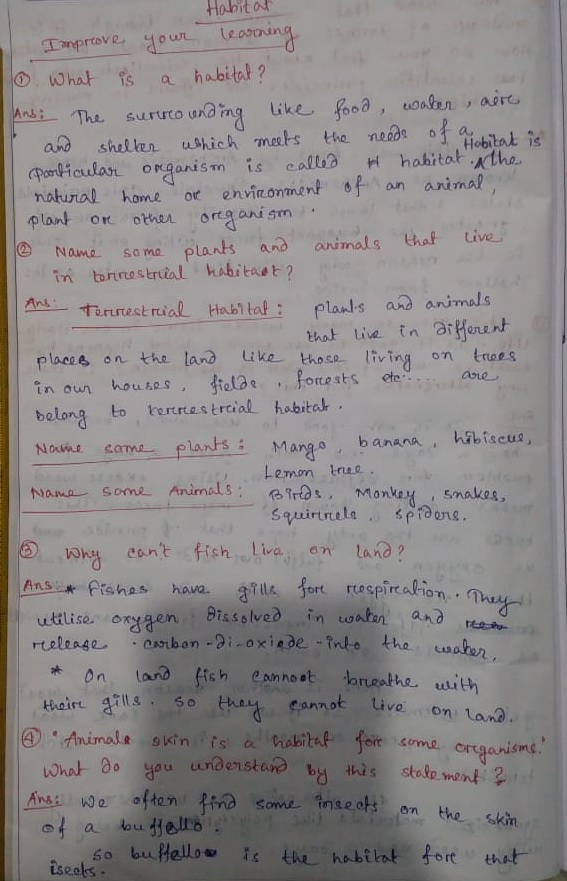 Telangana Scert Class 6 Science Chapter 6 Habitat Solution